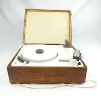 Vintage Record Player 1960s Portable Garrard Tonex 9 v Battery Wooden Case Rare