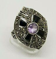 Sterling Silver 925 Ring Vintage Marcasite Onyx Amethyst Vintage Art Deco size 9