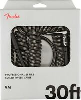 Fender Coiled Guitar/Instrument Cable, GRAY TWEED, Straight to Right-Angle 30'ft