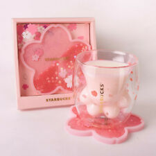 Starbucks Sakura Cat Claw Paw Glass Cup Sakura Mug Coaster Stirring Rod Set