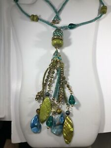 """Necklace STATEMENT Multicolor Teal Blue Green 28"""" Long 9 1/2"""" Center Dangles 8"""