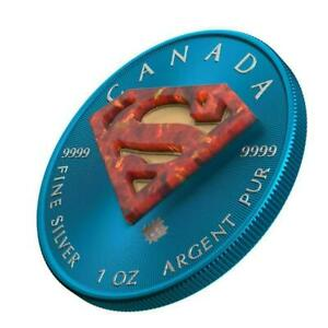 Canada 2016 $5 Superman Space Blue 1 Oz Silver 999 Coin with Real OPAL Stone