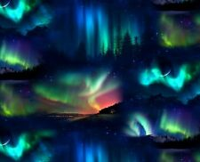 Landscape Medley Northern Lights Aurora 100% cotton fabric by the yard
