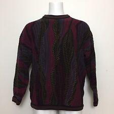Tundra Mens Sweater L Vintage Maroon Geometric Multicolor Canada Cosby Hip Hop