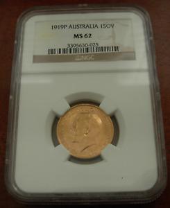 Australia 1919P Gold Sovereign NGC MS62 Perth Mint