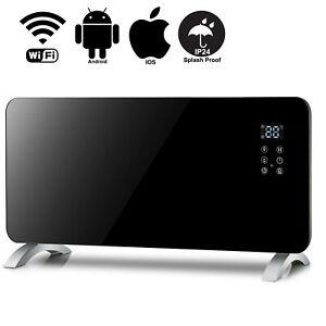 Smart WIFI App Control 2000W Black Glass Electric Radiator / Wall Panel Heater