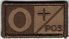 Brown Tan Blood Type O+ Positive Patch VELCRO® BRAND Hook Fastener Compatible