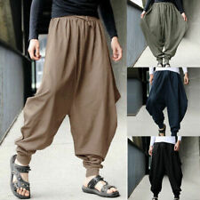 Women Mens Harem Pants Yoga Japanese Style Baggy Hippie Genie Wide Leg Trousers