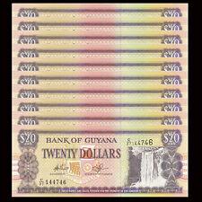 Lot 10 PCS, Guyana 20 Dollars, ND 1996, P-30, UNC