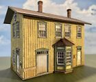 BUILT HO scale #1 Standard 2-Story Wooden Depot by LaserKit - Santa Fe Prototype
