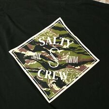 New listing Salty Crew T-shirt Mens 2XL Black Camouflage Camo Logo Surf Fishing