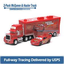 2-Car Disney Pixar Cars Lightning McQueen with Hauler Truck 1:55 Diecast Toys