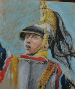 oil pastel on card of French cuirassier of 1812