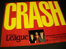 HUMAN LEAGUE Bright Red and Yellow CRASH 1986 Promo Poster Ad mint condition