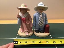Homco Girl and Boy Dressed as Man and Woman Ceramic Figurines