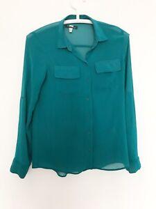 BERSHKA S Womens Shirt Sheer Green Buttons Collar Tunic Long 8 10 Blouse Top x