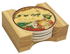 Hawaiian Islands Ceramic Coasters Set 4 Drink Tableware Tiki Bar Decor Kitchen