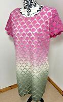 Next Size 14 Shift Dress Pink White Khaki green Ombre Dip Dye Lacy Wedding Guest