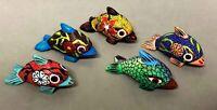 Oaxaca Alebrije Fish Wood Hand Painted Mexico Folk Art Signed Lulú, 4 Colors