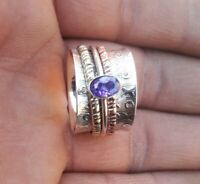 Amethyst Stone Solid 925 Sterling Silver Spinner Ring Statement Ring Size M444