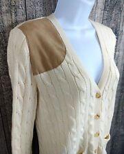 Ralph Lauren Women Cardigan Sweater Size XS Ivory Cotton Cable V-Neck Button L/S