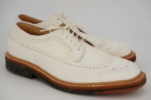 NEW   $618 ALDEN 10 D WHITE SUEDE LONG WING TIP GUNBOATS PLANTATION OUTSOLE