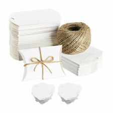 100x Kraft Pillow Box Sweet Paper Candy Box Gift Box for Wedding Birthday Party