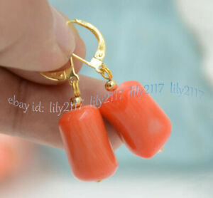 Natural 11x18mm Cylinder Pink Coral Gems Beads Dangle Gold Leverback Earrings