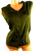 White stag green women's plus size sleeveless embroidered hem button down top XL
