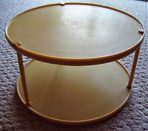 """Rubbermaid 10.5"""" Harvest Gold 2 Tier Turntable Lazy Susan Spice Storage Rack"""
