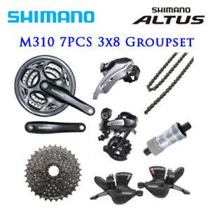 Shimano Altus M310 3x8 Speed Groupset 7pcs Shifter Derailleur Crank Cassette MTB