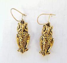 * GOLD TONE FASHION OWL DANGLE EARRINGS EAR WIRES DROP EARRINGS OWLS