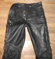 fette Damen- SCHNÜR- LEDERJEANS / Motorrad - Lederhose in schwarz ca. Gr. 38