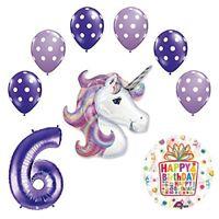 Lavender Unicorn Polka Dot Latex Rainbow 6th Birthday Party Balloon  supplies