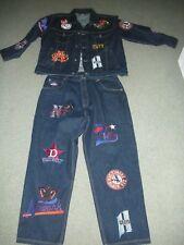 NWOT., MEN'S DENIM JACKET AND PANTS, NLBM, NEGRO LEAGUE PATCHES, XL