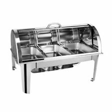 SOGA Three Trays Round Roll Top 3 3L Stainless Steel Chafing Dish with Stand