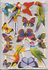 1 Bogen Glanzbilder Tiere Papageien Schmetterlinge MLP 1960 Nr.296