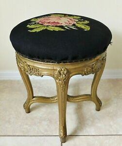 Antique/Vtg Gold Carved Wood Black Needlepoint PINK ROSE Piano Bench Stool