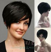 High end hot selling short black straight handsome wig fashion partial female