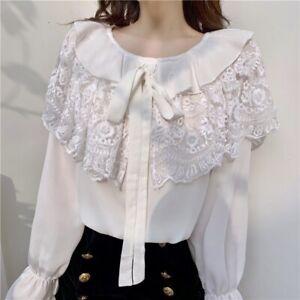 Womens Chiffon Lace Shirts Ruffles Tops Lolita Puff Sleeve Blouse Lolita Kawaii