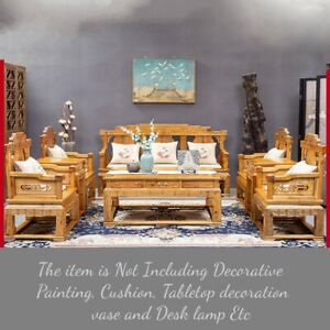 Set of 8 Silkwood Golden Phoebe Wood Palace Chair sofa Coffee Tea table #1186