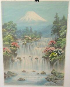 K.SEKI ORIGINAL JAPANESE WATERCOLOR FUJI MOUNTAIN FALLS LANDSCAPE PAINTING