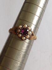 Delightful Rare Victorian 15ct Hand And Heart Almandine Garnet & Seed Pearl Ring