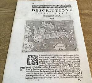 ANTIQUE MAP BRITISH ISLES DESCRITTIONE DELL ISOLA D'INGHILTERRA 1620 T PORCACCHI