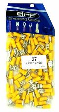 (100 PACK) YELLOW VINYL 12-10 GAUGE FEMALE QUICK DISCONNECT WIRE CONNECTOR .250""