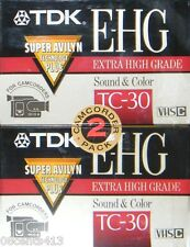 (2) TDK Extra High Grade Sound & Color (TC-30) VHS Tapes for Camcorders *NEW*