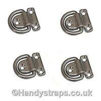 Folding Deck Pad Eyes 4 x Lashing Ring Tie Down Stainless Steel Handy Straps