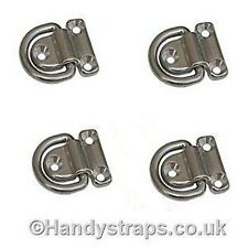 4 x Folding Deck Pad Eyes / Lashing Ring Tie Down Stainless Steel Marine