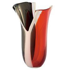 "New 13"" Hand Blown Glass Art Vase Red White Black Fluted ""Y"" Cutwork Decorative"