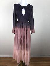 NWT Zaful Retro Vtg 1970s Pink Purple Chiffon Ombre Maxi Dress Medium Disco